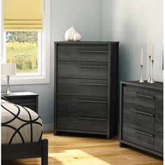Gray Dressers & Chest of Drawers Double Bed Designs, Chest Of Drawers, Wood Bed Design, Headboard Storage, 5 Drawer Chest, Drawers, Storage Spaces, Large Drawers, Bedroom Collections Furniture
