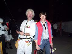 Back to the Future Doc and Marty McFly Halloween costume (could also change Doc's outfit to the scene where he has the crazy contraption on his head - with Marty wearing a suction cup on his forehead).