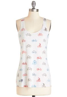 Ride and Seek Tank. Today youre seeking fun, and this racerback tank in a white-heathered hue has inspired you to set out for adventure on your bike. #white #modcloth