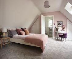 Summery orange and pink bedroom [Adam Carter] Kitchens And Bedrooms, Bedroom Storage, Dressing Table Storage, Bedroom Carpet, Interior Inspo, Bedroom Decor, Bedroom, Bedroom Flooring, Room