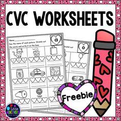 Valentine's Day CVC Worksheets - FREEBIE