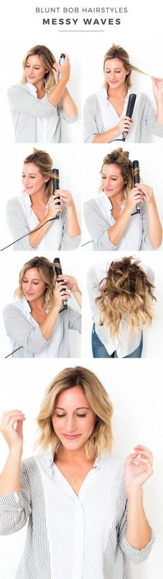 41 Lob Haircut Ideas For Women - BLUNT BOB HAIRSTYLES: MESSY WAVES -What is a lob? Step by step easy tutorials on how to cut your hair for a lob haircut and amazing ideas for layered, and straight lobs. Ideas for lobs with bangs, thick hair, wavy and thin Medium Hair Cuts, Medium Hair Styles, Short Hair Styles, Bob Styles, Hair Styles Waves, Styling Short Hair Bob, Short Hair Hacks, Lob Styling, Updo Styles