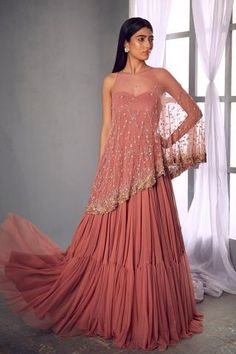 A cape gives you freedom and the feeling that you can overcome anything! Tap pic to shop the Jada cape gown 🛍 Stylish Dress Designs, Stylish Dresses, Fashion Dresses, One Piece Dress, The Dress, Pink Dress, Indian Designer Outfits, Designer Dresses, Anarkali Gown