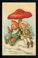 New Years Vintage postcard Gnomes girl child mushrooms