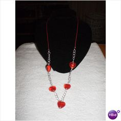 HANDMADE RED HEART CHUNKY CHAIN & THONG NECKLACE Listing in the Necklaces,Costume Jewellery,Jewellery & Watches Category on eBid United Kingdom