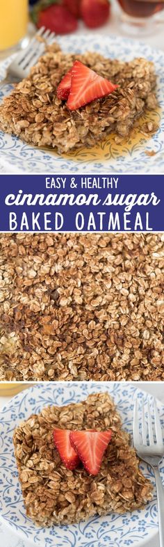 Easy Cinnamon Sugar Baked Oatmeal - a healthier breakfast recipe! Baked oatmeal is a fast and easy breakfast - freeze it for fast mornings!