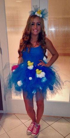 DIY Halloween Costume: Bubble bath! Blue tutu + cotton balls + ...