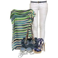 Striped blouse with white pants