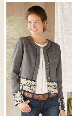 """Women's Clothing and Unique Jewelry Robert Redford's Sundance Catalog """"great idea for a wool jacket update"""" - Woman Jackets and Blazers Chanel Style Jacket, Robert Redford, Summer Hats For Women, Jackets For Women, Clothes For Women, Fashion Outfits, Womens Fashion, Dressmaking, Mantel"""