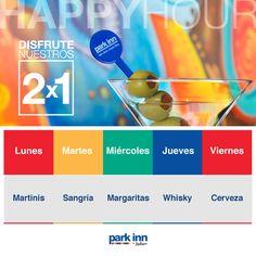 2x1 en bebidas seleccionadas, L a V, 5pm a 8pm. A veces tienen promociones los fines de semana, revise Facebook. Park Inn by Radisson San José. 21-7-15.