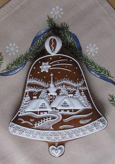 Zvoneček Crazy Cookies, Fancy Cookies, Iced Cookies, Royal Icing Cookies, Cupcake Cookies, Cupcakes, Christmas Sugar Cookies, Gingerbread Cookies, Christmas Gingerbread House