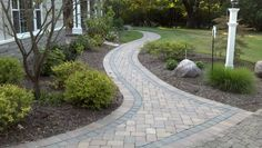 Landscape website with info on different walkways and paths Brown Paver Walk Walkway and Path Outside Insight Cincinnati, OH Concrete Walkway, Paver Walkway, Front Walkway, Walkways, Walkway Ideas, Driveways, Paver Edging, Firepit Ideas, Flagstone