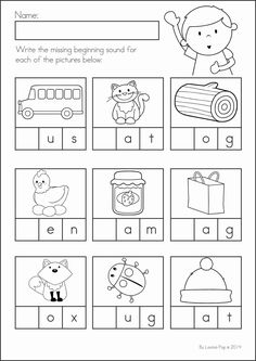 Kindergarten Back to School Math & Literacy Worksheets and Activities. 135 pages. A page from the unit: write the missing beginning sound