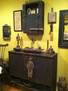 Primitiques Remedy Box (above) with our 2 door server below. A room filled with dark painted pieces add to the primitive feel of this room.