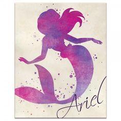 Ariel Color Splash found on Polyvore featuring home, home decor, canvas home decor, disney home decor and colorful home decor