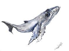 Baleine à bosse aquarelle originale peinture 9 X par ORIGINALONLY