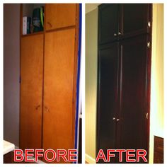 DIY cabinet makeover. Stained and new hardware.