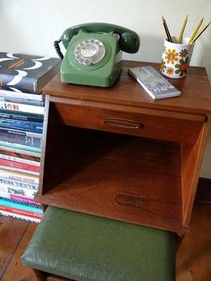 vintage teak telephone table with seat