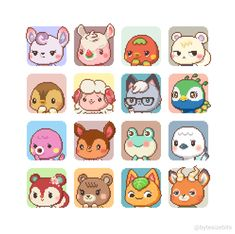 Animal Crossing Fan Art, Animal Crossing Villagers, Animal Crossing Pocket Camp, Vanellope Y Ralph, Arte 8 Bits, Pokemon, Motifs Animal, Cute Anime Couples, Cute Icons