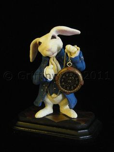 Alice in Wonderland White Rabbit Sculpture by Griffinwyse on Etsy - lovely detailed work in this figurine