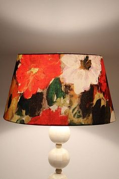 Art #anthropologie lamp. You could paint your white lampshade or recover with floral fabric.