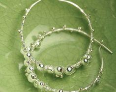 Silver Hoop Earrings Berries Hoops Wire Wrapped