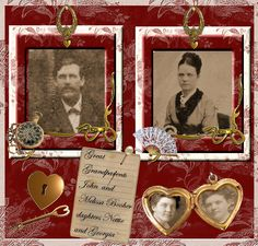 Great Grandparents ~ A rich red background and photo matting provides drama on this heritage romance page. Love the little heart locket with mini photos.