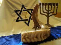 Shofar, menorah and Magen David