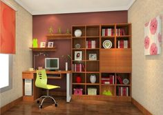 Study desk and bookcase in a room