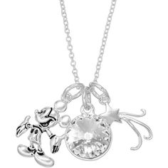 Disney's Mickey Mouse Crystal Charm Necklace (40 AUD) ❤ liked on Polyvore featuring jewelry, necklaces, disney, white, white crystal necklace, crystal charms, swarovski crystal charms, clasp charms and crystal stone necklace