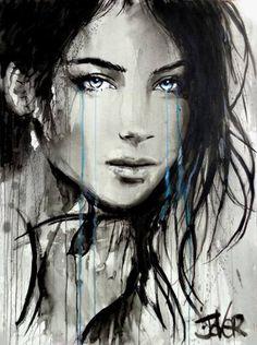 Artist: loui jover: pen and ink. Gouache Tutorial, Art Prints For Sale, Ink Illustrations, Gouache Painting, Portrait Art, Ink Art, Art Girl, Art Drawings, Art Photography