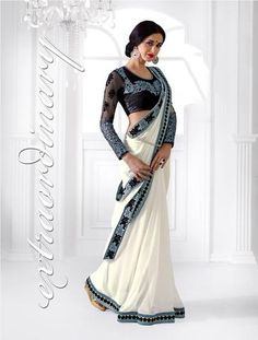 White Designer Blue Lace Border Indian Sarees ,Indian Dresses