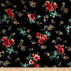 Garden Universe Rayon Challis Black/Light Coral from @fabricdotcom  This rayon fabric has a beautiful fluid drape and soft hand. It is perfect for creating shirts, blouses, gathered skirts and flowing dresses with a lining. Colors include shades of pink, aqua, green, coral, yellow, white and black.
