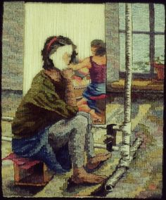 Sarah Swett, Who's In Charge, 12 x 10 inches, handwoven tapestry, hand spun wool warp, wool and silk weft, natural dye