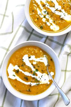 This simple, cozy, healthy, and delicious butternut squash and thyme soup could not be easier to make! No blender necessary.