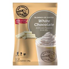 Offer irresistible chocolate flavor in your coffee beverages with this Big Train white chocolate latte blended ice coffee mix! With a name symbolizing strength and constant motion, Big Train has expanded into a global foodservice brand you can trust with a large number of diverse products to choose from. Big Train has become a leader in the specialty beverage mix industry, delivering easy-to-make and consistently-delicious products.<br><br> This creamy latte-flavored drink mix in...