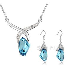$5.86 Posh Earrings & Necklace Bright Crystal Ear Studs & Necklace - BornPrettyStore.com