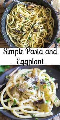 Simple Pasta and Eggplant is a delicious fast and easy recipe idea. Made with olive oil, fresh Italian parsley, garlic and chopped eggplant then tossed together with bucatini pasta. This simple yet perfect Pasta Dish will make you think you are in Italy. Eggplant Recipes Pasta, Eggplant Pasta, Eggplant Dishes, Italian Pasta Recipes, Easy Pasta Recipes, Recipes With Bucatini Pasta, Chinese Eggplant, Eggplant Meatballs, Baby Eggplant