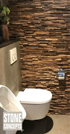 Stone Concepts - Dé tegel- en sanitair specialist in Westland en omstreken Powder Room Paint, Powder Room Decor, Powder Room Design, Wood Panel Walls, Wood Wall, Wall Cladding Tiles, Wc Decoration, Powder Room Lighting, Ideas