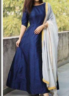 Anarkali Dress With Dupatta  Wedding Wear Indian Long Lenght Frock Blue Anarkali Party Wear  Custom
