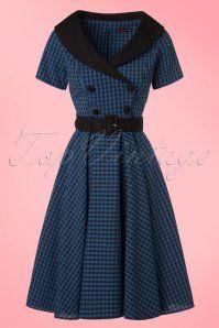 Bunny Bridget 50s Black Navy Checkered Dress 102 39 19563 20161103 0003W