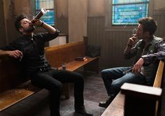 Jesse Custer (Dominic Cooper) and Cassidy (Joseph Gilgun) in Episode 2 of #Preacher Photo by Lewis Jacobs/Sony Pictures Television/AMC