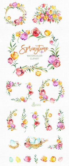 This Springtime - 3 set of hand painted watercolor illustrations. Perfect graphic for diy projects, wedding invitations, greeting cards, photos, posters, quotes and more. ----------------------------------------------------------------- This listing includes: 20 x Images in PNG with