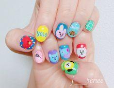 Cute Nail Designs For Spring – Your Beautiful Nails Korean Nail Art, Korean Nails, Cute Nails, Pretty Nails, Army Nails, Bts Doll, Bts Makeup, Kawaii Nails, Top Nail