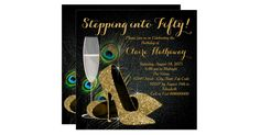 Elegant, colorful peacock feathers, gold champagne and gold glitter high heel shoe stepping into 50 birthday party invitation. You can easily customize this beautiful woman's peacock birthday party invitation by adding your details in the font style and color, wording and layout of your choice.