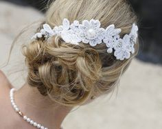 Lace bridal headband Lace with pearls headpiece Lace by LHGDesigns
