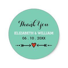 Teal Sweethearts Arrows Wedding Thank You Sticker