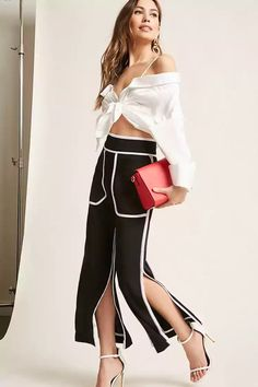 Product Name:Contrast-Trim Cropped Pants, Category:CLEARANCE_ZERO, Price:48