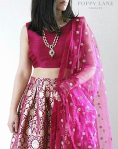 Brocade skirt with raw silk blouse