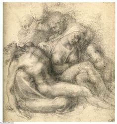 el lamento de cristo a la derecha, yeso de Michelangelo Buonarroti (1475-1564, Italy)